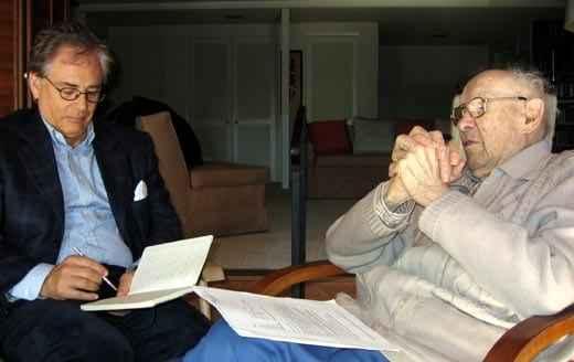 Prof. Dr. Fredmund Malik zu Hause bei Prof. Dr. Peter Drucker in Claremont in der Nähe von Los Angeles, wenige Monate vor dem Tod Peter Druckers (c) Fredmund Malik