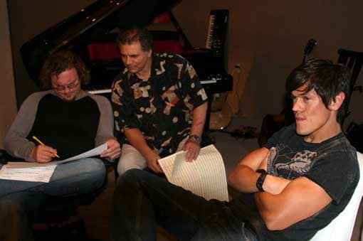Bassist Mike Valerio, Paul Buckmaster, and singer Mig Ayesa at Matthew Wilder's studio, June 2006. (c) Paul Buckmaster