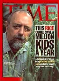 Prof. Dr. Ingo Potrykus auf der Titelseite des Time-Magazins im Juli 2000. (c) Time-Magazin
