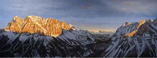 """Lukas R. Vogel: """"Zugspitze und Sonnenspitze"""", entstanden 2008 Oel auf Leinwand, 130 x 350 cm, Auftragsarbeit"""