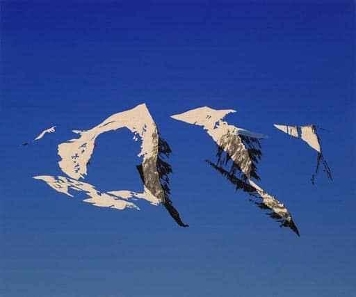 """Lukas R. Vogel: """"Momentum: Piz Palü am Morgen"""", entstanden 2009 Alkydharz auf Leinwand, 100 x 120 x 8 cm"""