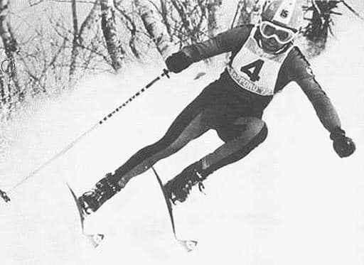 Siegfahrt an der Olympiade in Sapporo 1972: der Zielschuss (c) Bernhard Russi