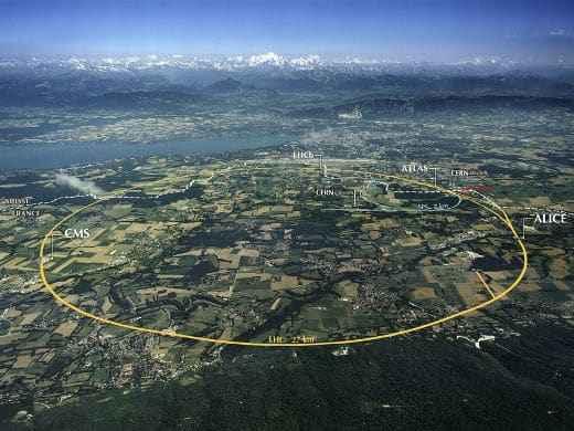 Flugbild mit CERN und Large Hadron Collider (c) CERN