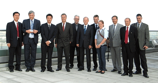 2006: The delegation of the Efficiency-Club Basel on the roof terrace of the Suzhuo Industrial Park near Shanghai