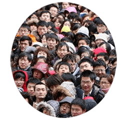 Human density in China is x times higher than in the western world